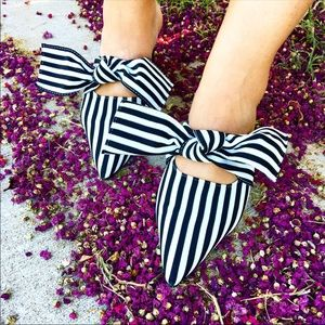 White and Black Stripe Bow Mules